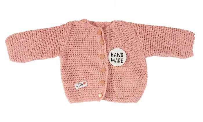 0e2863ab999 Vest baby gebreid oud roze maat 68-74
