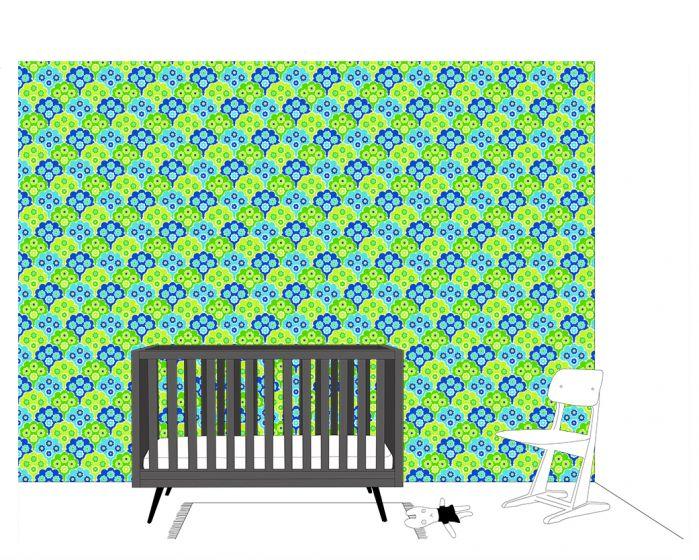 Babykamer Groen Blauw.Behang Retro Met Bloemen Groen En Blauw Inke