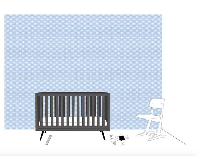 Babykamer Behang Groen : Behang met nopjes stipjes groen blauw roze babykamer inke