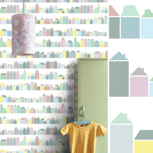 Behang Babykamer Boom.Behang Retro Xl Muurprint Inke Behangwinkel Retro Behang Huisjes