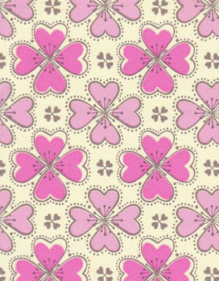 Super Behang retro bloemetjes roze bruin babykamer kinderkamer Inke #MP27