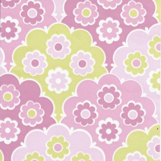 Behang Kinderkamer Roze.Behang Retro Flowers Roze Of Groen Inke