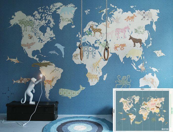 Populair Behang XXL paneel wereldkaart kinderkamer jongenskamer Inke  CV08