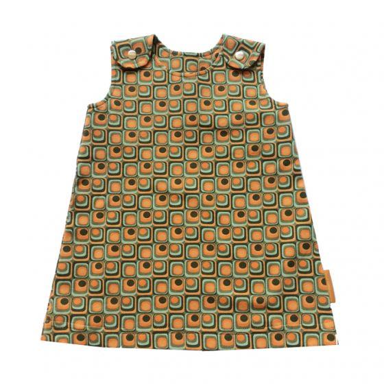 ee648f3046c803 Overgooier meisje retro print oranje jurk maat 80 maat 86 maat 74 ...