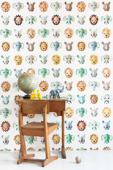Behang Kinderkamer Jungle.Behang Dieren Jungle Wit