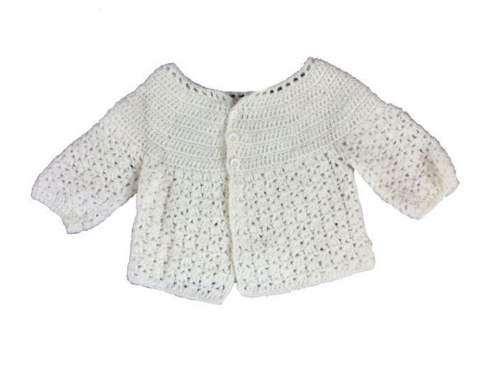 6433408bb4c3d5 Gehaakt vestje wit vintage maat 62 maat 68 baby vest wit gehaakte ...