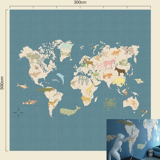 Uitzonderlijk Behang paneel XL Inke behangwinkel palmboom wereldkaart walvis  JH23