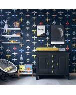 Behang vliegtuig zwart