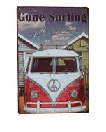 Metalen bord Volkswagenbus Gone surfing