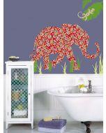 Muursticker olifant babykamer retro