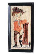 Schilderij retro jongen geborduurd