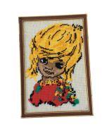 Schilderij retro kinderkamer geborduurd jongetje