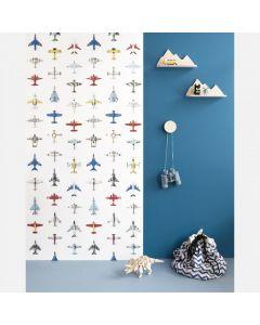 Behang vintage vliegtuig wit