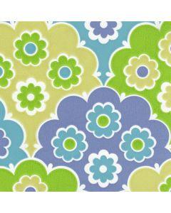 Behang Inke bloemen retro groen blauw 0036