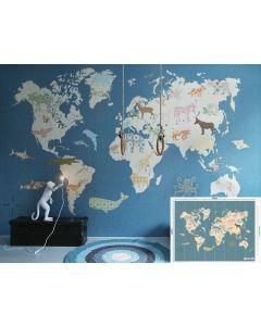 Behang XXL paneel wereldkaart blauwe kinderkamer
