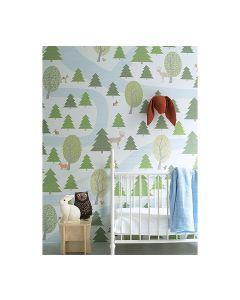 Behang XL bospad groen-blauw