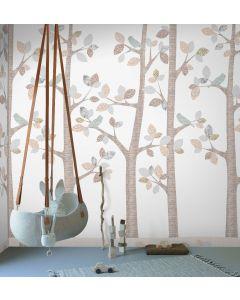 Behang paneel boom grijs met vogels
