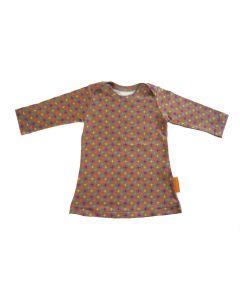 T-shirt jurkje met sterretjes taupe