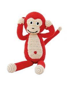 Knuffel aap rammelaar rood