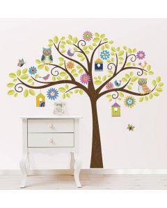 Muursticker boom met uiltjes