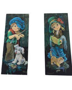 Schilderij retro print met meisje of jongen