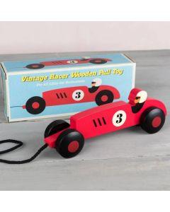 Raceauto vintage hout met trekkoord