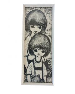 Schilderij retro zwart-wit meisje jongen