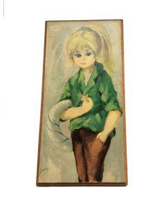 Schilderij met meisje retro vintage