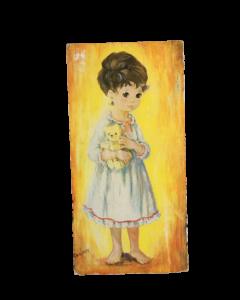 Schilderij retro geel met meisje