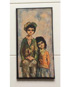 Schilderij retro jongen met pet en meisje