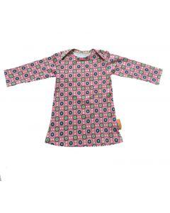 T-shirt jurk retro roze maat 86