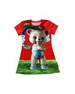 T-shirt jurkje rood retro beer maat 86-92