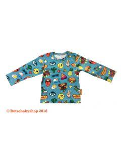 T-shirt retro peace blauw lange mouw vanaf maat 74 t/m maat 92