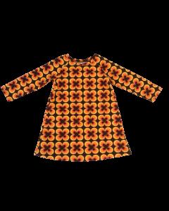 T-shirt jurk retro bruin oranje pauwenoog