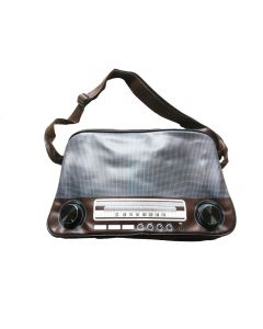 Tas radio retro in bruin of zwart