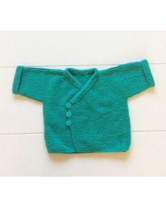 Baby vestje gebreid groen 2-6 maanden