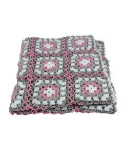 Deken wieg gehaakt grijs wit en roze