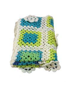 Wieg deken gehaakt wit groen blauw