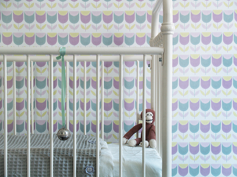 Behang Inke retro babykamer