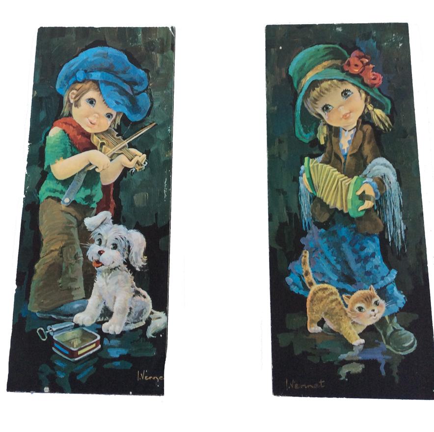 Schilderij retro jongen en meisje